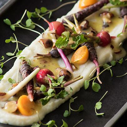 Baby Vegetable Salad with Cauliflower Cream and Warm Hazelnut Dressing